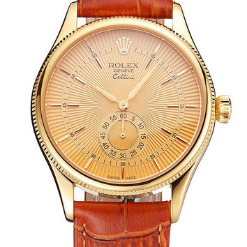 Swiss Rolex Cellini Gold Dial Gold Case Light Brown Leather Strap