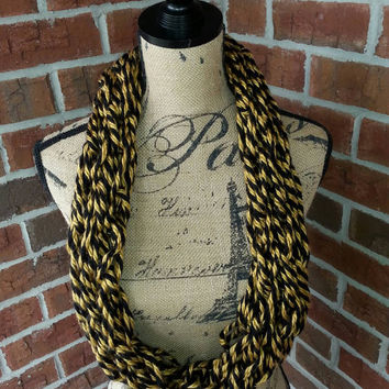 Soft and warm black and gold Arm-Knitted Infinity scarf, Bulky Scarf, Team Spirit Scarf - Infinity scarf- cowl - New Orleans, Boilermakers