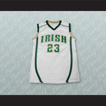 Lebron James Fighting Irish High School White Basketball Jersey Stitch Sewn