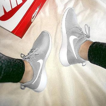 """NIKE"" Roshe Run Women Casual Sport Shoes Sneakers Grey"
