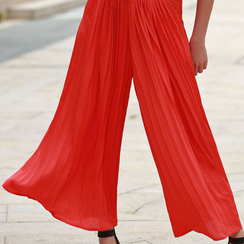 Red Pleated Chiffon Ankle Pants