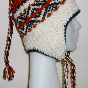 Hand Knit Hat for Womens hat small with Earflap hat in cream, burnt orange, hunter green