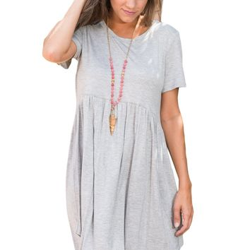 Chicloth Gray Short Sleeve Pullover Babydoll Style Casual Dress