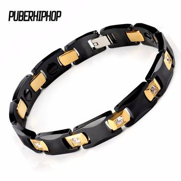 New Bio Energy Ceramic Bracelet Bangle Health Magnetic Power Titanium Bracelets CZ Health Chain Charms For Women/Men Jewelry