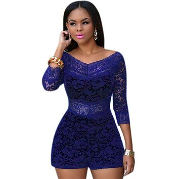 Royal Blue Lace Overlay Off-shoulder Romper