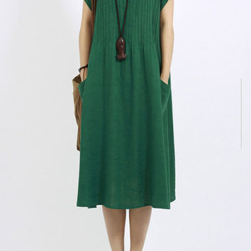 Short Sleeve A-Line Midi Dress with Pockets