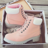 Timberland Rhubarb Boots Fashion Women Men Personality Waterproof Martin Boots Lovers Pink-White I