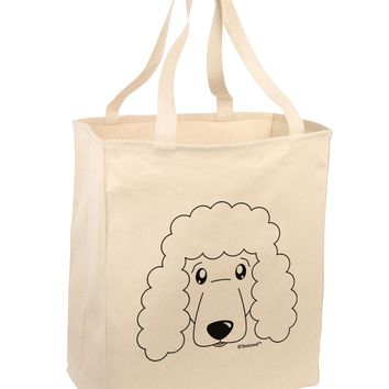 Cute Poodle Dog - White Large Grocery Tote Bag by TooLoud