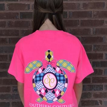 Southern Couture Plaid Turtle T-Shirt