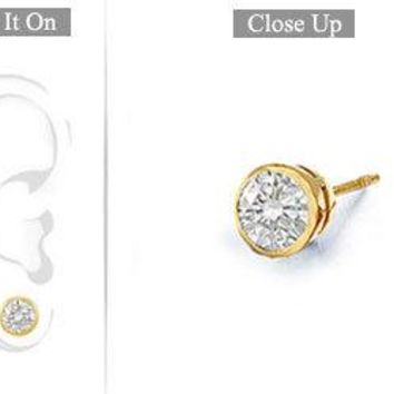 Mens 18K Yellow Gold : Bezel-Set Round Diamond Stud Earrings 0.50 CT. TW.