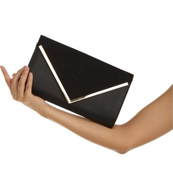 Black Suede Envelope Clutch