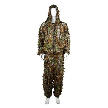 Breathable Hunting Clothes Leaves Camouflage Ghillie Suit Comfortable Men Women Outdoor Woodland Tactical Suit