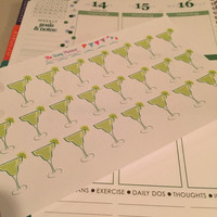 FREE SHIPPING E11 Margarita girls night out drinks cocktails happy hour stickers for Erin Condren Life Planner/Plum Planner - set of 24