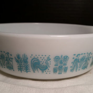 Butterprint Small Pyrex Casserole #471 Rare Promotional Retro Kitchen White and Teal 1 Pint Farmers Pattern Collectible With Lid