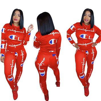 Champion Fashion New More Letter Print Sports Leisure Long Sleeve Top And Pants Two Piece Suit Red