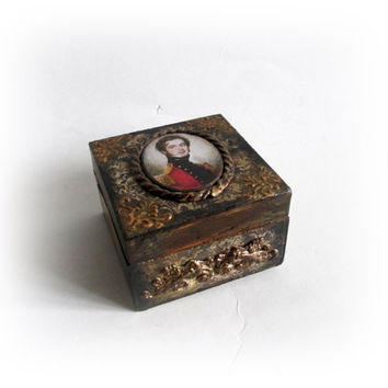 Vintage Trinket Box Antique Jewelry Box  Ring Earing Cufflinks Box Mens Gift Wood Decoupage Box English School circa 1825 Portait an Officer