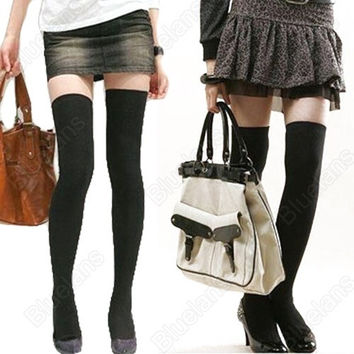 Over The Knee Cotton Socks Thigh High Cotton Stockings = 1930065284