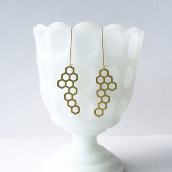 Brass Honeycomb Earrings - Medium