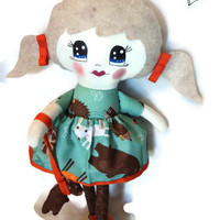 Soft doll, cloth doll with felt hair, playing, removale skirt and shoes, forest animals - big blue eyes