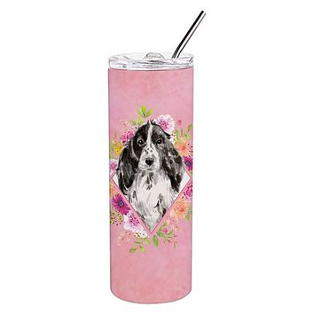 Black Parti Cocker Spaniel Pink Flowers Double Walled Stainless Steel 20 oz Skinny Tumbler CK4244TBL20