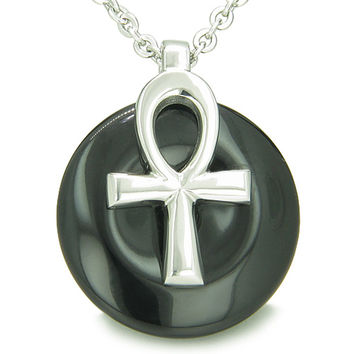 All Powers of Life Ankh Magic Amulet Simulated Black Onyx Lucky Donut Pendant 22 Inch Necklace