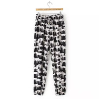 Summer Women's Fashion Cotton Print Casual Pants [4919973316]