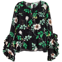 Blouse - Black/Floral - Ladies | H&M GB