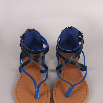 Qupid Two Tone Intertwined V-Strap Thong Flat Sandal