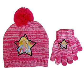 Barbie Star Space-Dyed Knit Beanie Hat & Glove Set - Girls 3-6 (Pink)