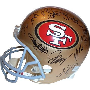 2012 San Francisco 49ers Team Autographed Riddell Full Size Football Helmet, Proof Photos