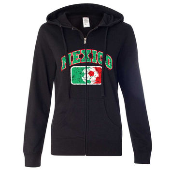 Mexico Vintage Soccer Futbol Team Ladies Zip-Up Hoodie