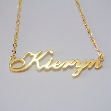 Nameplate gold necklace, gold nameplate necklace, full nameplate gold necklace for mother women, Personalized custom nameplate gold necklace