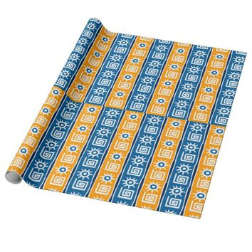 Blue and Gold Tribal Pattern Wrapping Paper