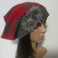 Red and Grey Recycled Sweater Slouch Beanie with Grey Chiffon Flowers and Smokey Grey Accents Winter Hats Sweater Hats Accessories