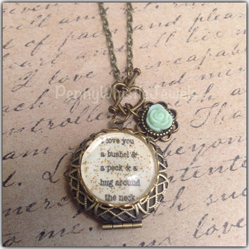 I Love You Necklace, Quote Necklace, Picture Necklace, Photo Locket, Locket Necklace, Locket With Quote, Vintage Locket, Picture Locket