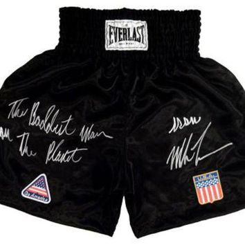 DCCKJNG Mike Tyson Signed Autographed 'The Baddest Man On The Planet' Boxing Trunks (ASI COA)
