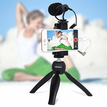 Comica Smartphone Video Kit CVM-VM10-K2 Filmmaker Mini Tripod with Shotgun Video Microphone Video Rig for iPhone X 8Plus 8 7Plus 7 Samsung Huawei etc.
