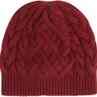 Johnstons of Elgin Aran Cable Knit Cashmere Beanie Hat