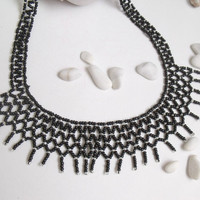 Black Knit Necklace-Ready For Shipping-OOAK