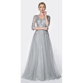 Flowy A-Line Tulle Gown Silver 3/4 Length Sleeve And Lace Bodice