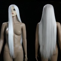 HealthTop Long White Hair Brand New Heat Resistance Cosplay Costume Wig Anime Show & Party Wig& Performance Hair Full Wigs