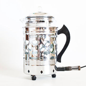 Vintage Art Deco Forman Coffee Maid Percolator, 4 Man Electric Coffee Percolator Pyrex Flameware Insert, Working Condition 1940s Prop