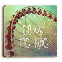 Enjoy The Ride - Photo Expression Ferris Wheel Planked Wooden Art Sign