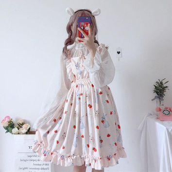 Women Loose Cotton Japanese Summer Dress Kawaii Casual Cute Cartoon Print Sleeveless Princess Party Dresses Ruffles Strap Dress