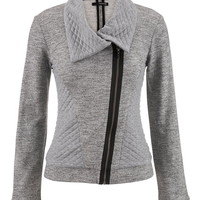 Asymmetrical Quilted Jacket - Gray
