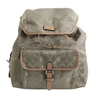 Coach Backpack In Signature Nylon (Silver/Biscuit/Tan)