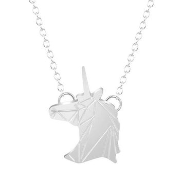 Womens Gold or Silver Minimilist Geometric Unicorn Horse Pendant Necklaces