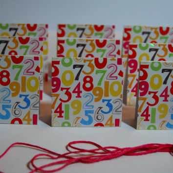 Birthday 2 in x 2 in Mini Cards or Gift Tags (9) and matching red Thread, Birthday Handmade Folded Gift Tag or Small Card