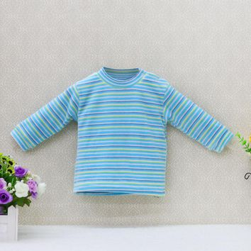 2017 Newborn Shirts Verlour Boys Long Sleeve Striped Blouse Unisex baby clothes O-Neck Girls Clothing Velvet Kids Shirts Tees