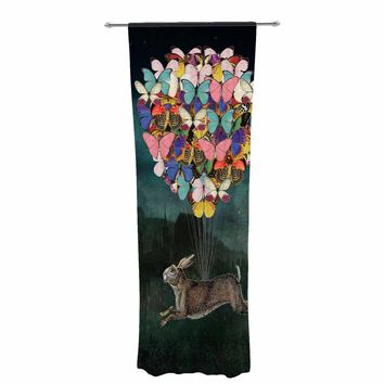 """Suzanne Carter """"Cross Country"""" Blue Multicolor Decorative Sheer Curtain"""